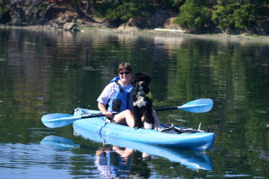 Jette and TailR kayaking in San Juan Islands